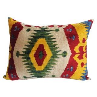Red & Yellow Silk Velvet Ikat Pillow