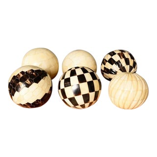 Decorative Tessellated Bone & Horn Spheres Set with Burl Wood Tray