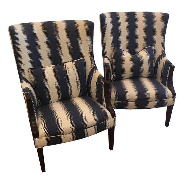 Navy & White Wing Chairs - A Pair - Image 1 of 7