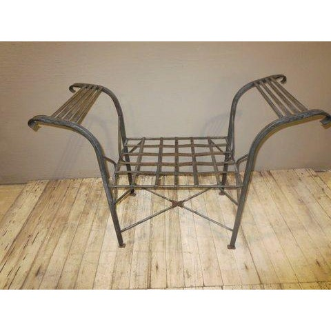 Classical Iron Bench With Crosshatched Seat - Image 3 of 5
