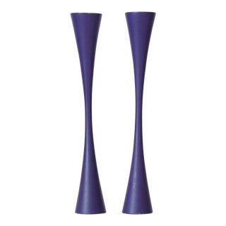 Purple Sculptural Danish Modern Candlesticks - A Pair