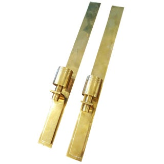Danish Modern Brass Wall-Mounted Candleholders - A Pair