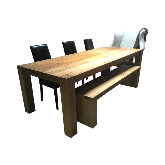 Reclaimed Russian Oak Parsons Table and Bench - Image 1 of 4