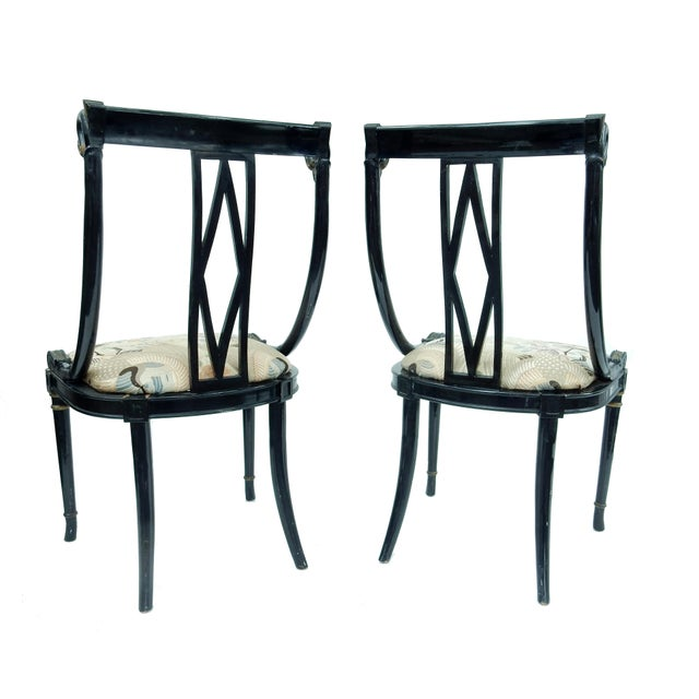 Hollywood Regency Black & Gold Swan Chairs - A Pair - Image 7 of 10