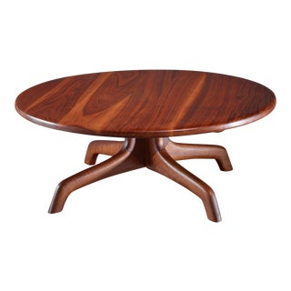 Arthur Espenet Round Walnut Coffee Table, USA, 1960s