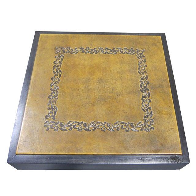 Vintage Sarreid LTD Square Leather Top Side Table - Image 5 of 5