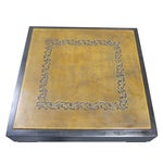 Image of Vintage Sarreid LTD Square Leather Top Side Table
