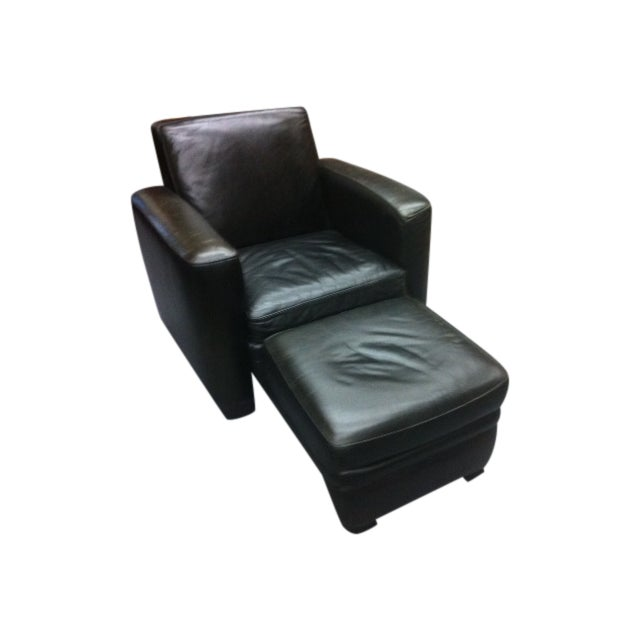 Room and Board Leather Chair & Ottoman - Image 1 of 4
