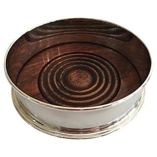 Silver-Plate & Wood Wine Bottle Coaster