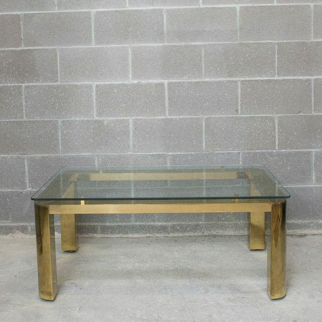 Pace Mid-Century Modern Brass and Floating Glass Cocktail Table - Image 5 of 6