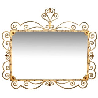 Large Italian Gilt Metal Horizontal Mirror With Elaborate Scroll Work