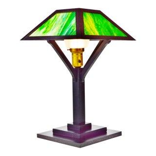 Vintage Mission Arts & Crafts Slag Glass Table Lamp