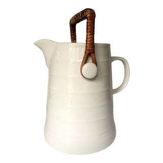 Antique French Country Pitcher with Wicker Handle