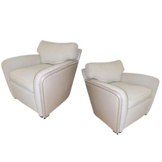 Pair of Ward Bennett Leather Armchairs for Brickel Furniture