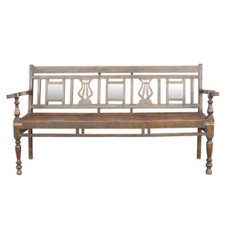 Anglo Indian Mirrored Teak Bench