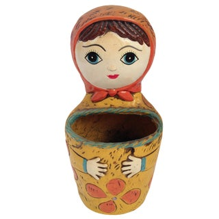 Vintage Russian Babushka Wall Pocket