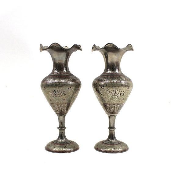 1930s Bohemian Metal Inlaid Vase Set - A Pair - Image 2 of 6