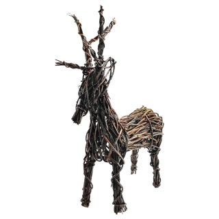Hand Crafted Vine Reindeer Sculpture