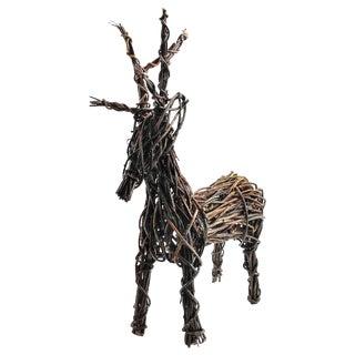 Hand Crafted Vine Reindeer Sculpture
