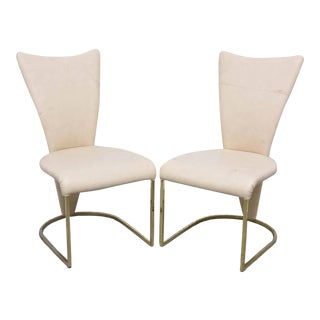 Design Institute of America Post-Mod Brass Dining Chairs, Set of Four, 1980s