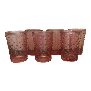 Pink Hobnail Type Glassware - Set of 6
