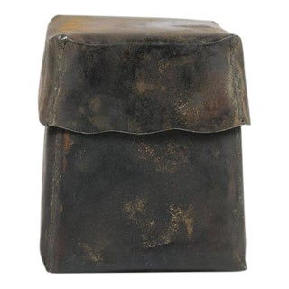 Burnished Rustic Metal Box With Lid