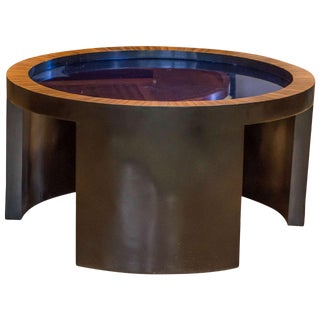 Round Coffee Table with Cobalt Blue Glass Top