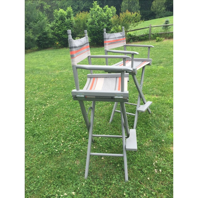 Gray and Orange Striped Director's Chairs - A Pair - Image 10 of 10