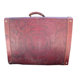 Mexican Hand-Tooled Leather Suitcase