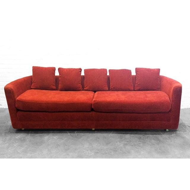 Custom Mid-Century Sofa in Rust Colored Chenille - Image 2 of 5