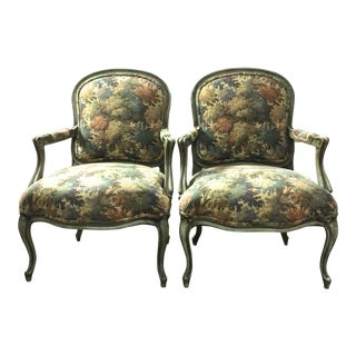 Reproduction Louis XV Fauteuil Arm Chairs - Pair