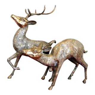 Vintage Brass Stag & Doe Figurines - Pair
