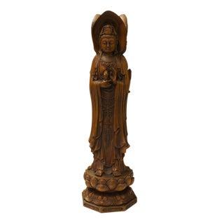 Chinese Wood Carved Kwan Yin Bodhisattva Statue
