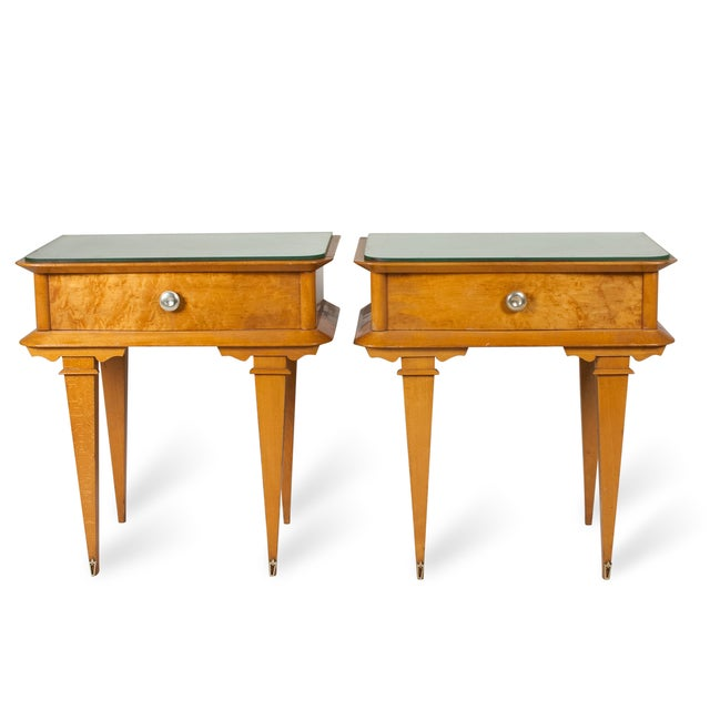 Vintage 1940s French Sycamore End Tables - A Pair - Image 2 of 10