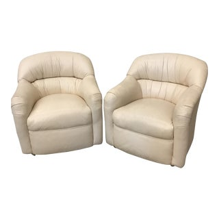Cream Leather Club Chairs - A Pair