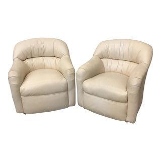 Cream Leather Club Chairs - A Pair