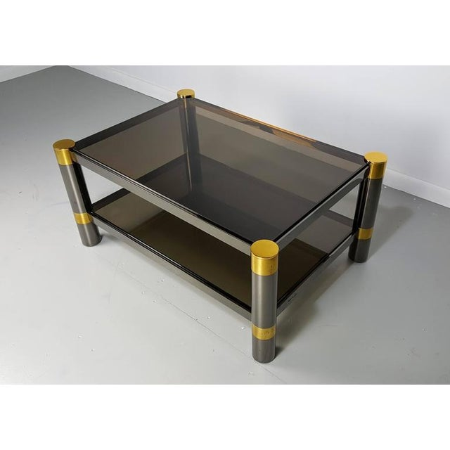 Silver Finish Coffee Table: Karl Springer Gunmetal And Gold Tone Finish Coffee Table