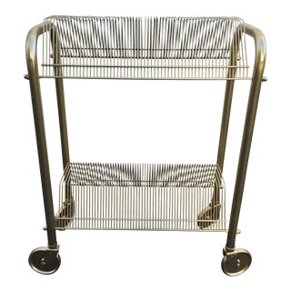 Vintage Gold Wheeled 45s Record Cart
