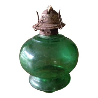 Vintage Green Glass Oil Lantern