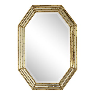 Gilded Octagonal Faux Bamboo Mirror with Beveled Glass by La Barge