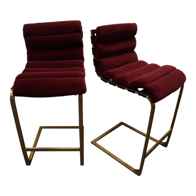 Custom Maroon Upholstered Cantilevered Bar Stools A Pair