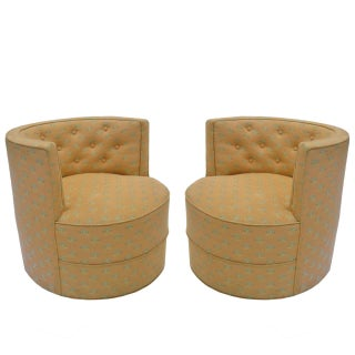 Pair of Stunning Barrel Back Tufted Tub Chairs