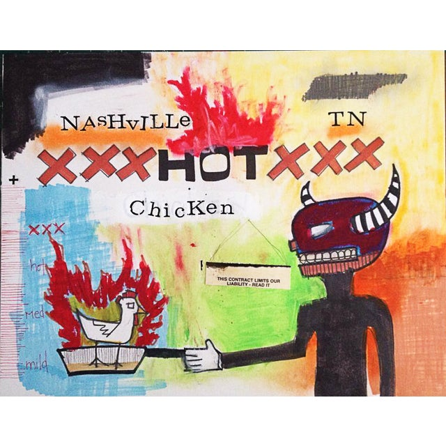 "Image of Jeff Green ""Hot Chicken"" Mixed Media Artwork"