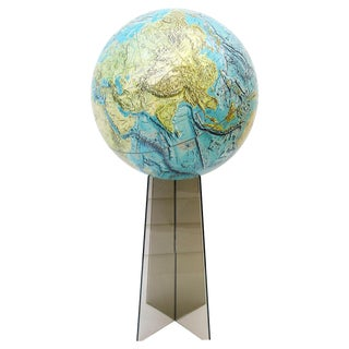 Large Replogle World Globe and Lucite Stand