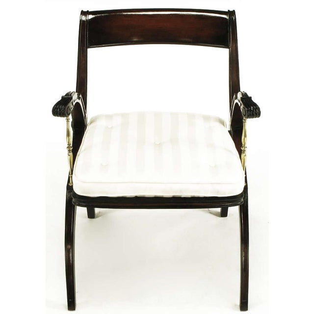 Mahogany and Brass Open-Back Armchair - Image 2 of 9