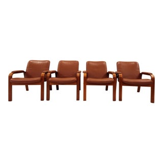 Vintage Ekornes Norwegian Leather & Teak Armchairs- Set of 4