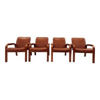 Vintage Ekornes Norwegian Leather & Teak Armchairs- Set of 4
