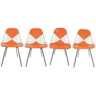 Eames Orange Wire Bikini Dining Chairs - Set of 4