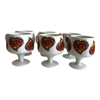 70's Retro Heart Cups - Set of 6