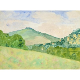 "English Watercolor Painting, ""Nun Hill"""
